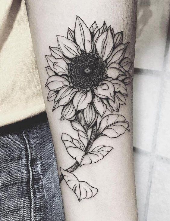50 idées de tatouages de tournesol pour femme 27
