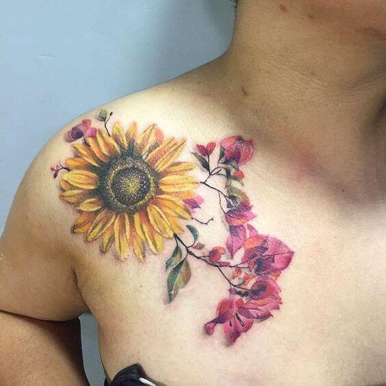 50 idées de tatouages de tournesol pour femme 45