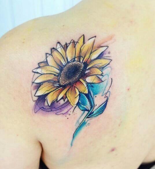 50 idées de tatouages de tournesol pour femme 47