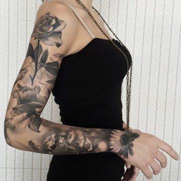 Tatouage bras femme : 50+ idées de tatouages et leur signification 261