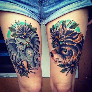Tatouage cuisse femme : 30+ idées de tatouages et leurs significations 194
