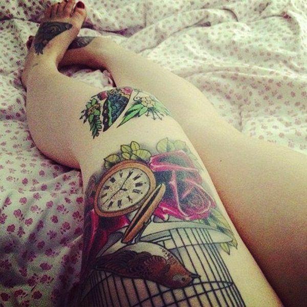 Tatouage cuisse femme : 30+ idées de tatouages et leurs significations 144