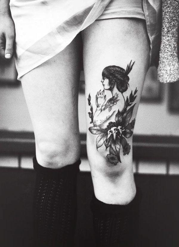 Tatouage cuisse femme : 30+ idées de tatouages et leurs significations 153