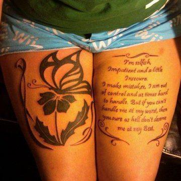 Tatouage cuisse femme : 30+ idées de tatouages et leurs significations 345