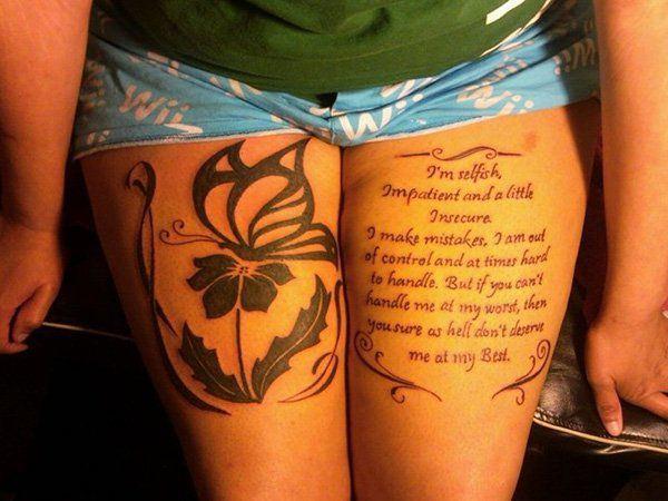 Tatouage cuisse femme : 30+ idées de tatouages et leurs significations 156