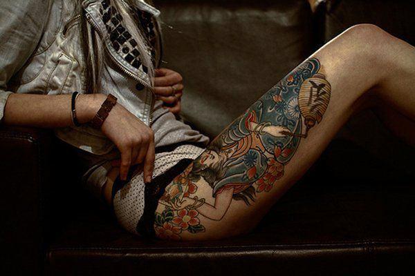 Tatouage cuisse femme : 30+ idées de tatouages et leurs significations 164