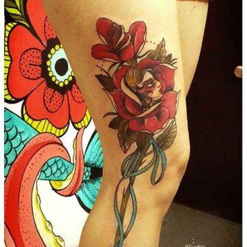 Tatouage cuisse femme : 30+ idées de tatouages et leurs significations 363
