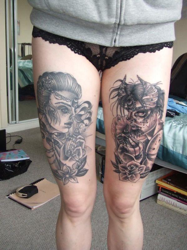Tatouage cuisse femme : 30+ idées de tatouages et leurs significations 187