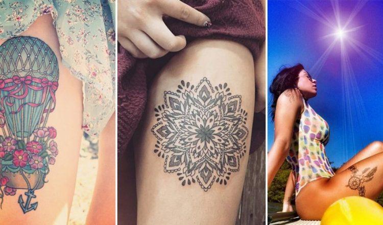 Example de tatouage sur la cuisse d'une femme