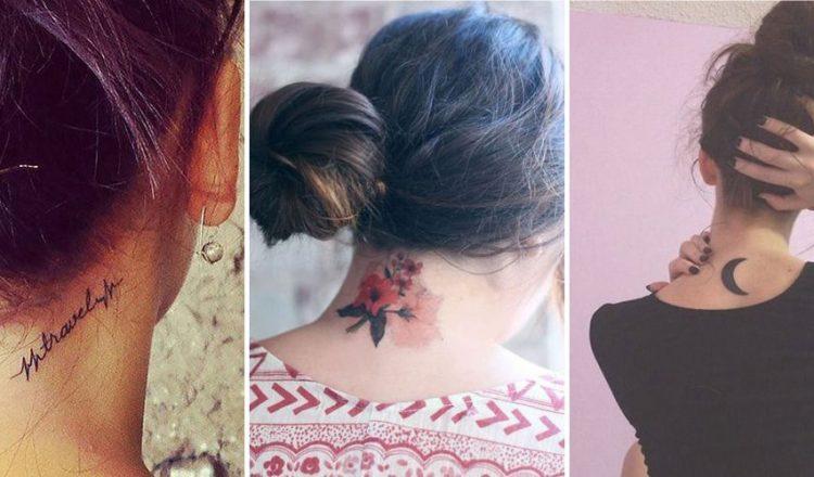 Example de tatouage sur la nuque d'une femme