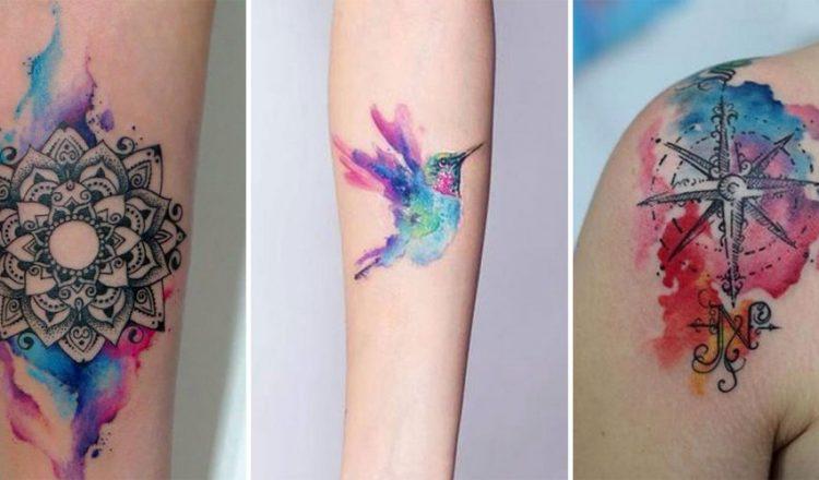 Exemple de tatouage aquarelle sur une femme