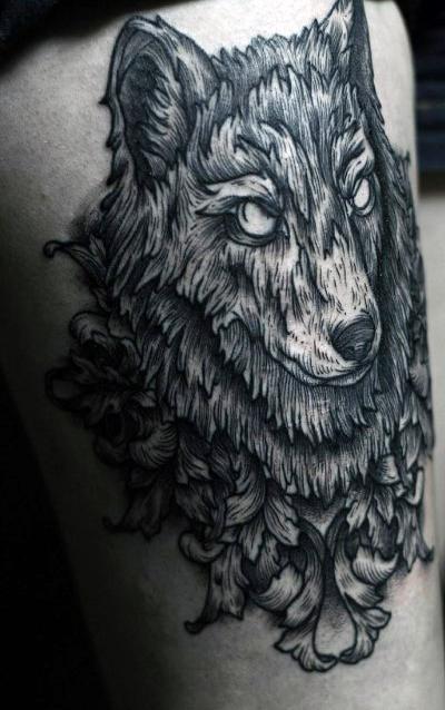 Meilleur tatouage de loup pour hurler sur la lune 70