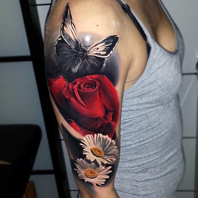 12 74-100 tatouages roses pour femmes