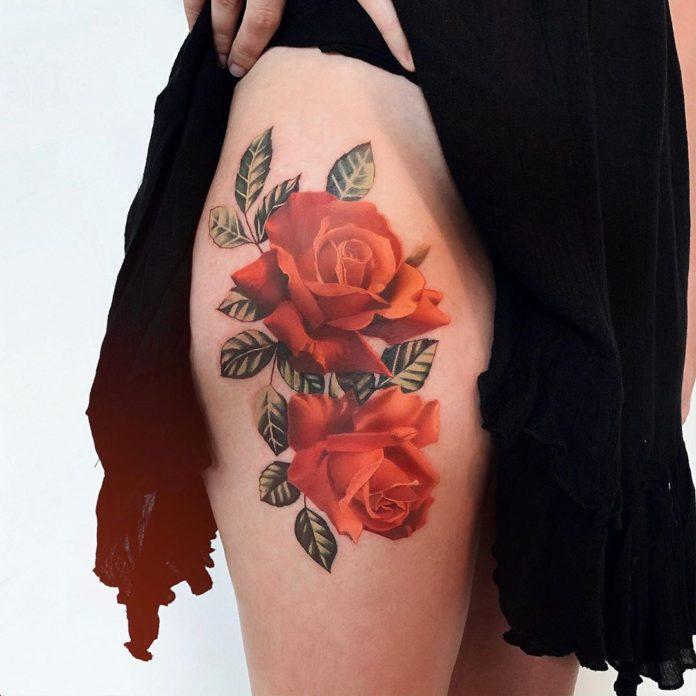 19 95-100 tatouages roses pour femmes