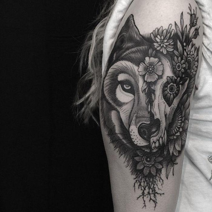 Meilleur tatouage de loup pour hurler sur la lune 68