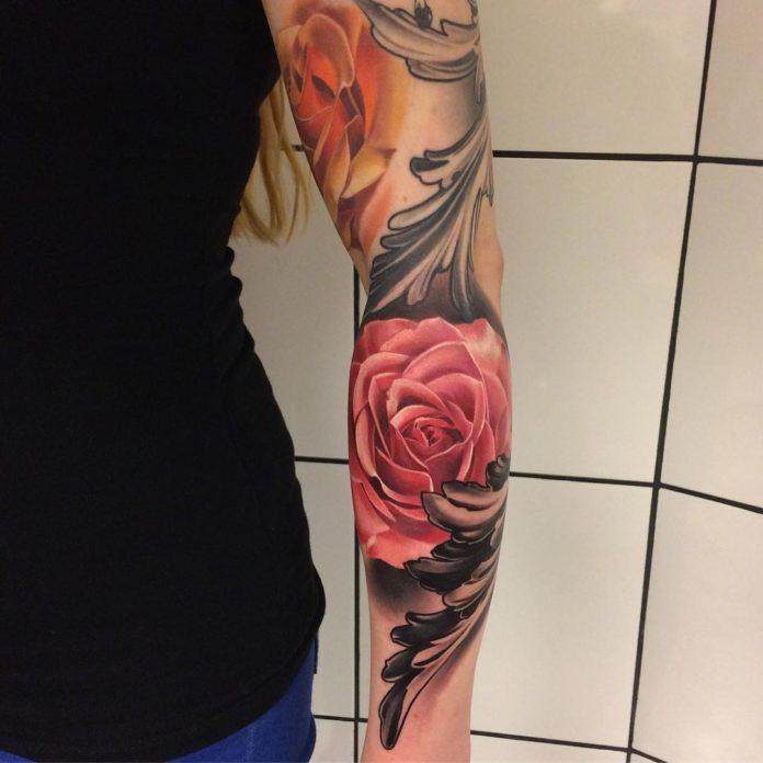 29 2-100 tatouages roses pour femmes