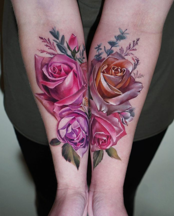 36 20-100 tatouages roses pour femmes