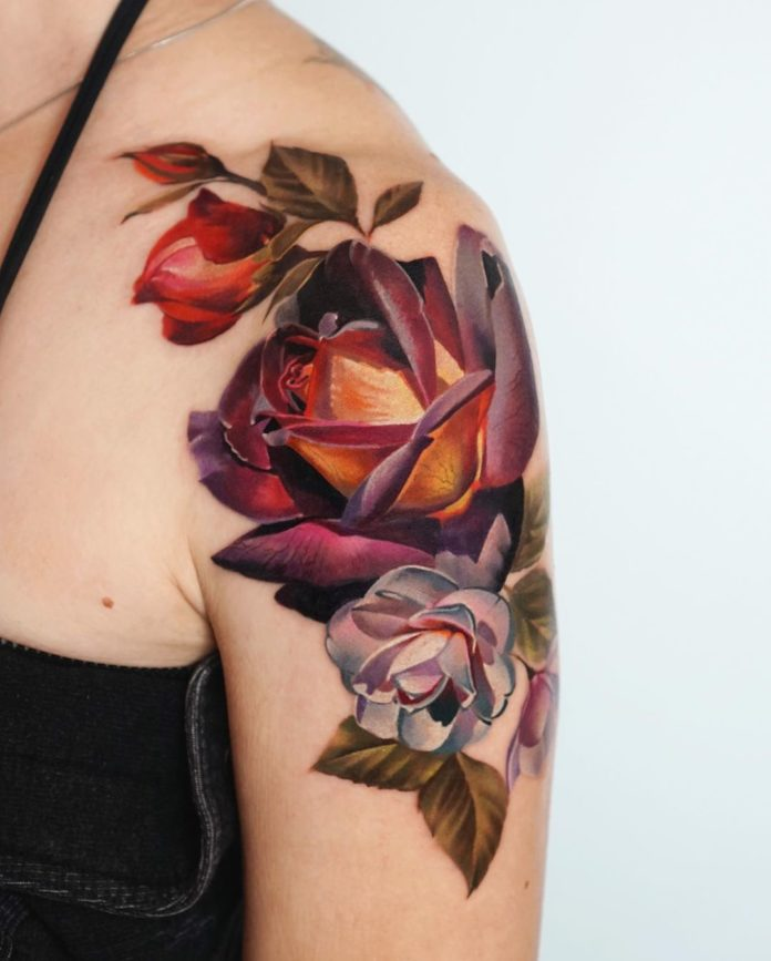 48-100 Tatouages Rose pour Femme