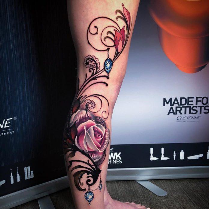6 9-100 tatouages roses pour femmes