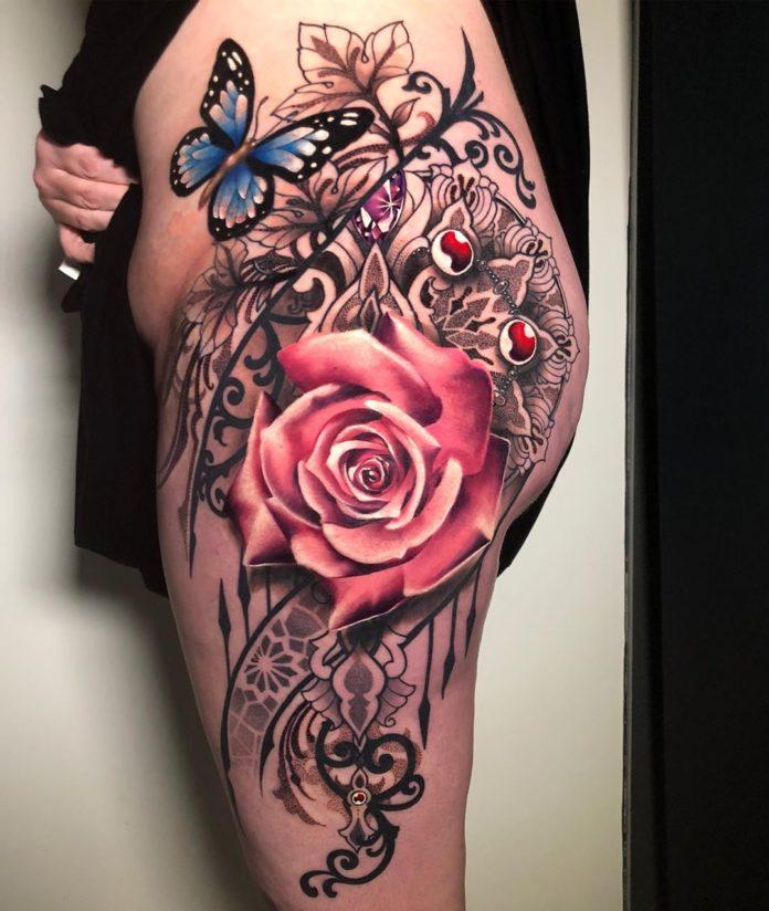 68 2 - 100 Tatouages Rose pour Femme
