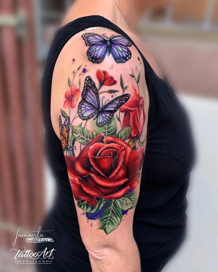 7 47-100 tatouages roses pour femmes