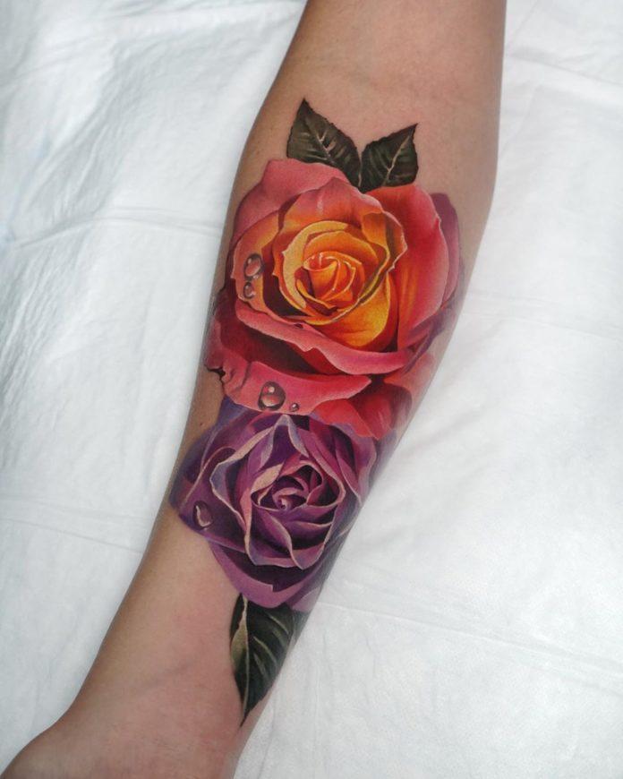 80 1 - 100 Tatouages Rose pour Femme