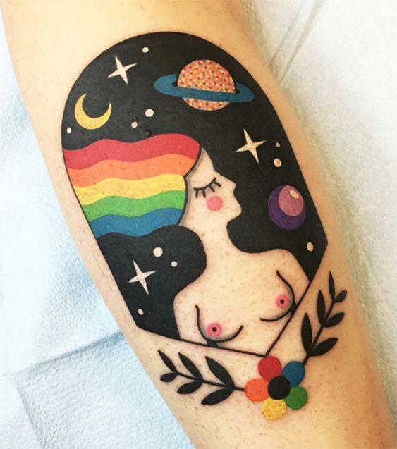 Portrait abstrait tatouage Technicolor