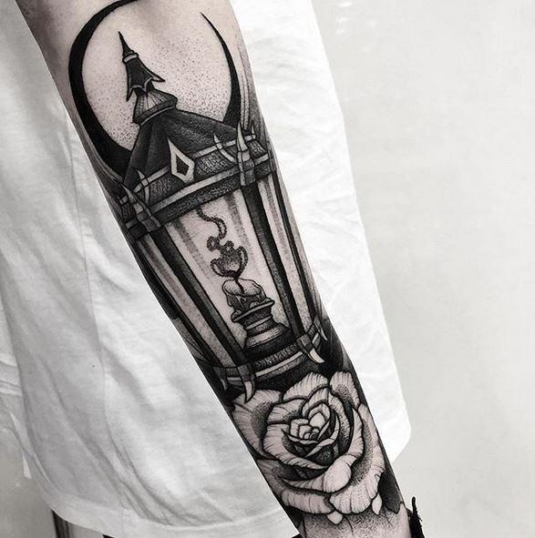 Blackwork Lantern Arm Tattoo