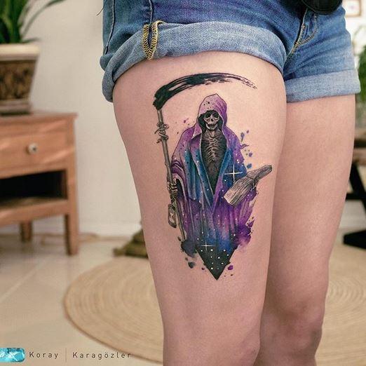 Tatouage Cosmic Grim Reaper Cuisse