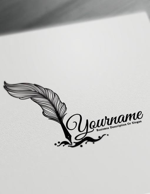 Stylo plume Logo design de tatouage