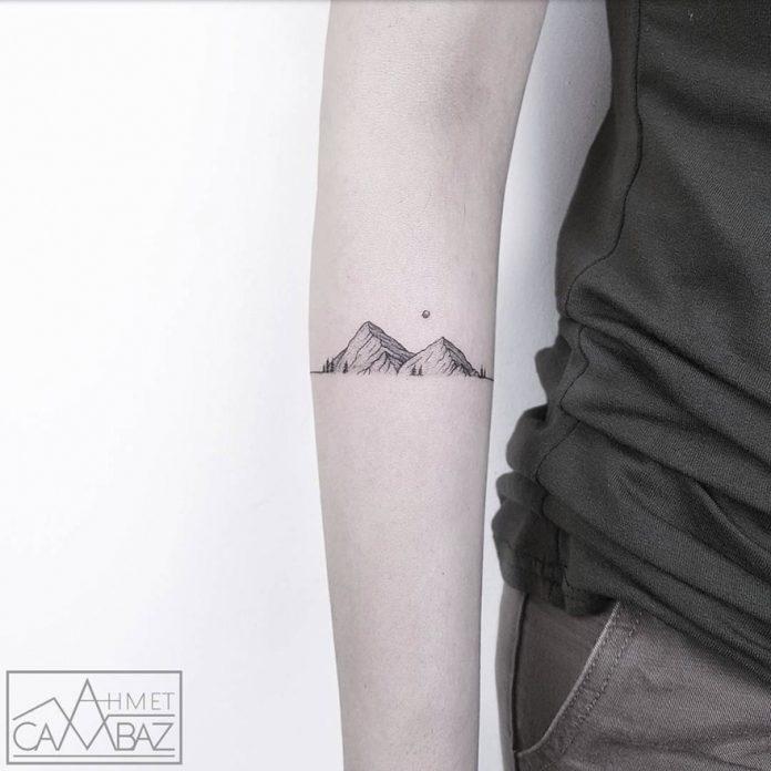 Tatouage d'avant-bras de chaîne de montagnes