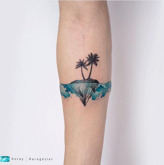 Tatouage avant-bras Palm Island