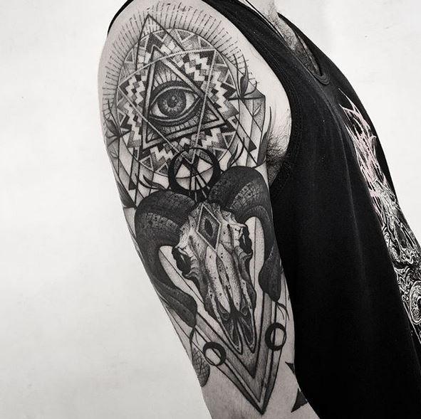 Tatouage Bras Bras Crâne