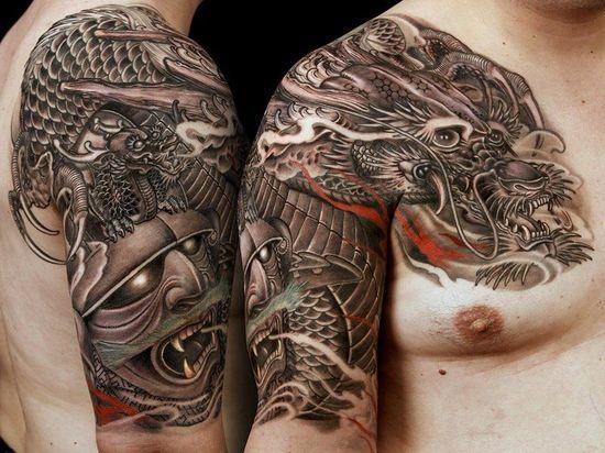 Guerrier chinois et tatouage de dragon