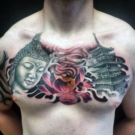 Homme de tatouage chinois lotus tête de Bouddha et pagode