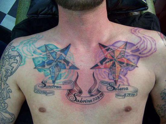 Étoile de tatouage homme sur la poitrine