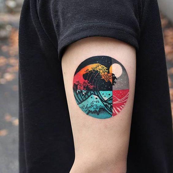 La grande vague au large de Kanagawa bras tatouage