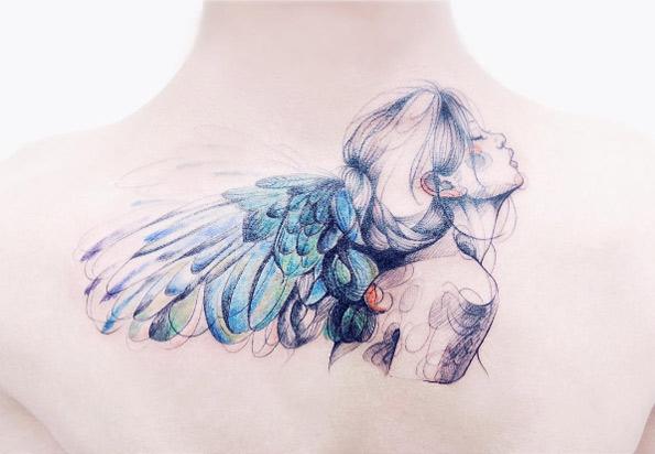 Tatouage Ange Aquarelle
