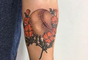 220+ meilleures conceptions de tatouage de baseball (2020) Idées liées au sport 3