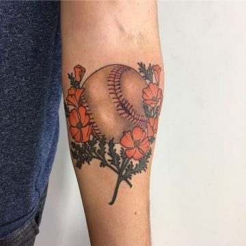 220+ meilleures conceptions de tatouage de baseball (2020) Idées liées au sport 9