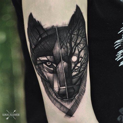 Meilleur tatouage de loup pour hurler sur la lune 20