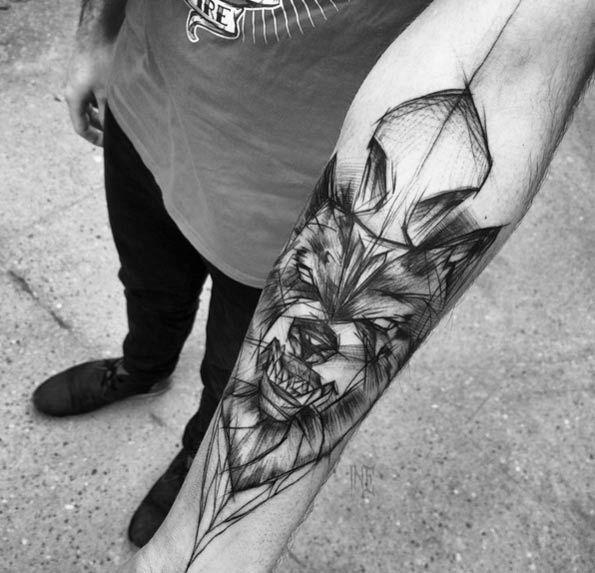 Meilleur tatouage de loup pour hurler sur la lune 16