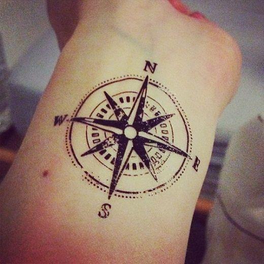 Idée tatouage boussole étoile du nord au poignet avec les 4 points cardinaux