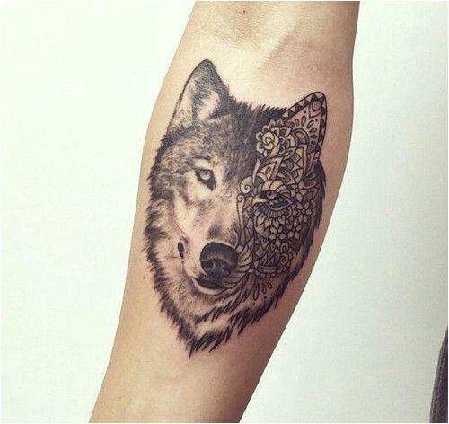 Tatouage de bras de loup