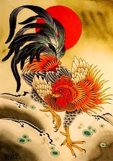 Tatouage de coq de feu chinois