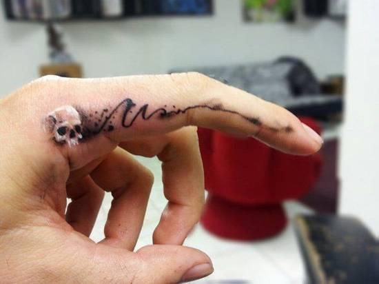 Tatouage homme à l'intérieur de l'index de doigt