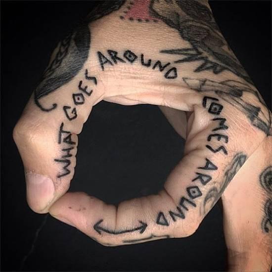 Tatouage homme doigt message sur le pouce et l'index