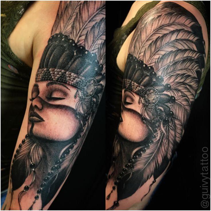 Suisse nativeamerican cheyenne indien fille femme portrait plume fille tatouage tatouages manches manches femme soutiens-gorge en nne tatouage noir