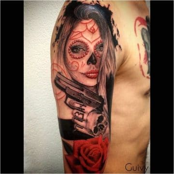 Tatouage de visage de femme indienne | acidcruetattoo 8
