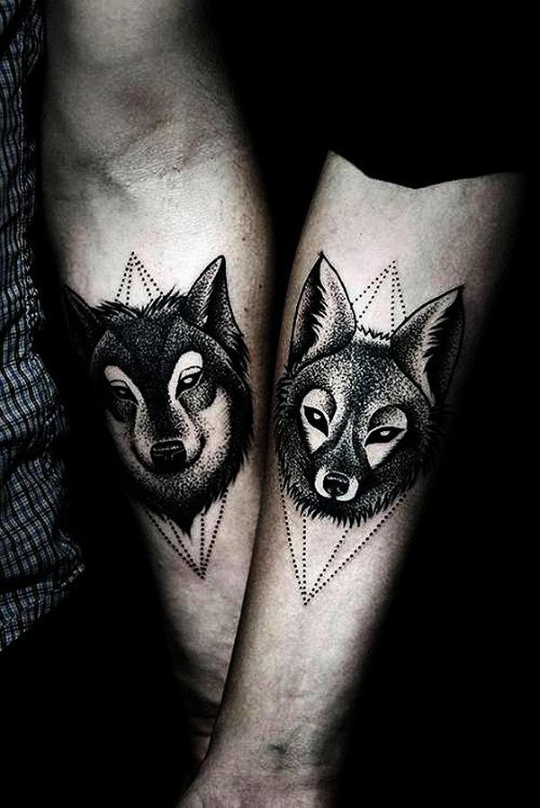 Tatouage loup et renard
